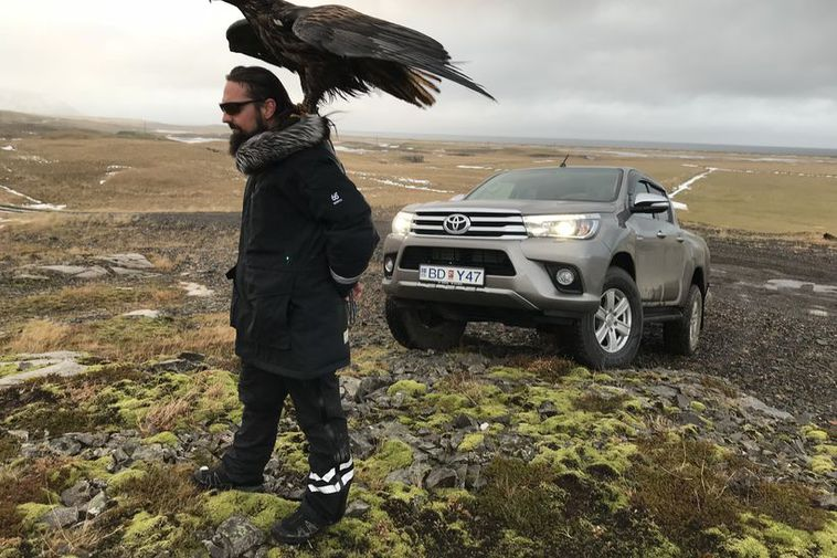 "Rafnsson, ""The Vermin"" with his captured sea eagle, soon to be released back from captivity."