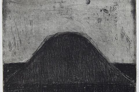 Georg Guðni, Mt. Háganga, 1985. Line etching. Sheet (irregular): 7 7/8 x 8 in. Artist's proof. Courtesy of the estate of Georg Guðni and Hverfisgallerí