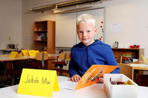 Jakob Már Kjartanson is excited about his first day at school.