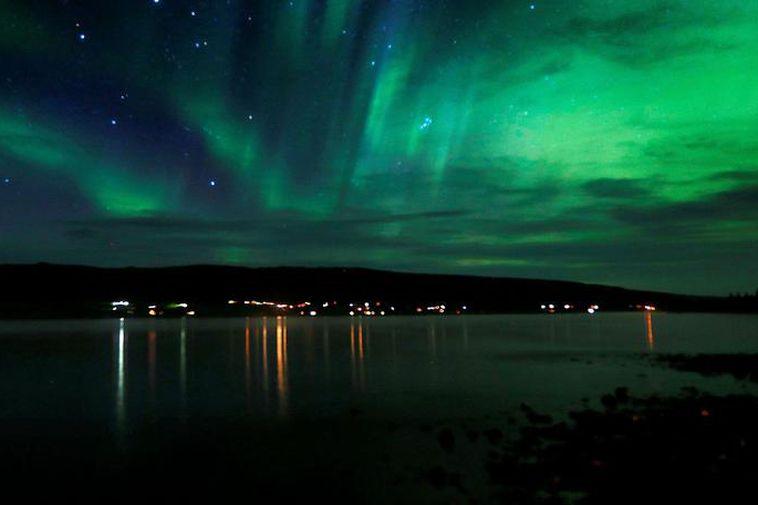Northern Lights dancing above Borgarfjörður, West Iceland.