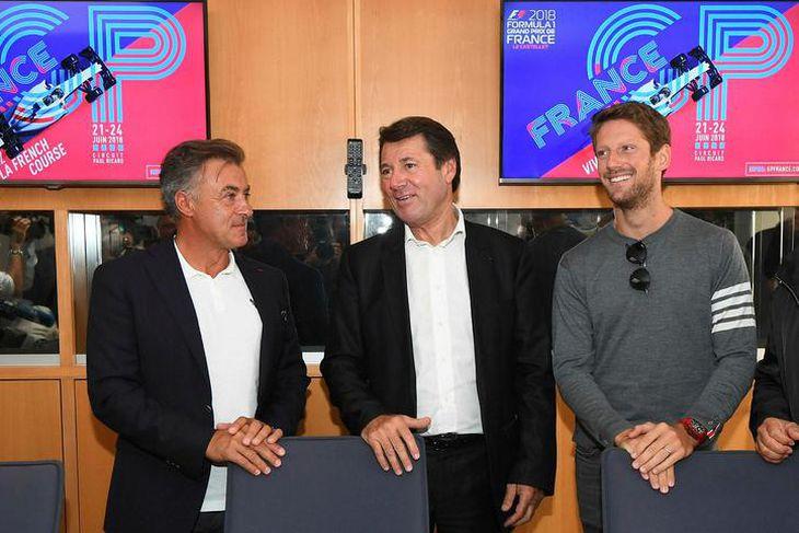 Ökumennirnir Jean Alesi (l.t.v.) og Romain Grosjean (l.t.h.) voru viðstaddir er borgarstjórinn í Nice og ...