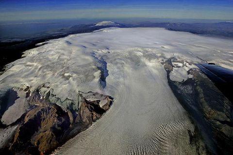 Katla volcano is underneath Mýrdalsjökull glacier