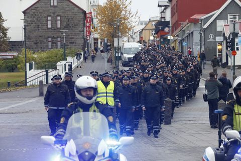 The march was attended by just under half of the country's entire police force.