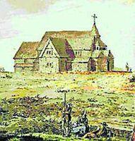 Skálholt árið 1750.