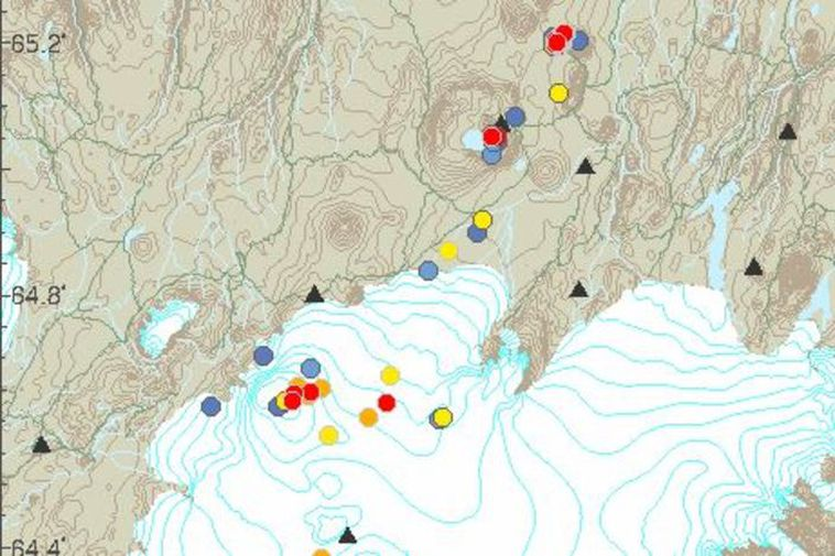 The red dots mark the spot where earthquakes have occurred this morning.