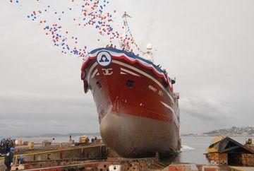Nýtt skip Ísfélags Vestmannaeyja var sjósett í Sjíle í dag og því gefið nafnið Heimaey ...