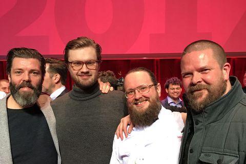 Owner Kristinn Vilbergsson, Ólafur Ágústsson managing director of Dill, head chef Ragnar Eiríksson and Gunnar Karl Gíslason,one of the founders of Dill, receiving their Michelin star.