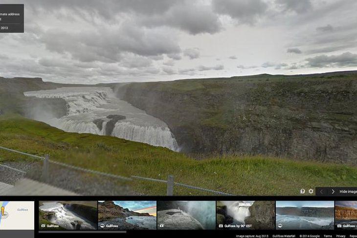 Hægt er að skoða Gullfoss í bak og fyrir á Google Street View.
