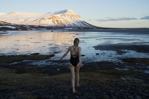 Ocean swimming in the remote beauty of Iceland's West Fjords.