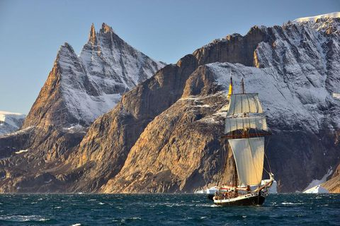 The company's schooner Ópal sailing off Greenland.