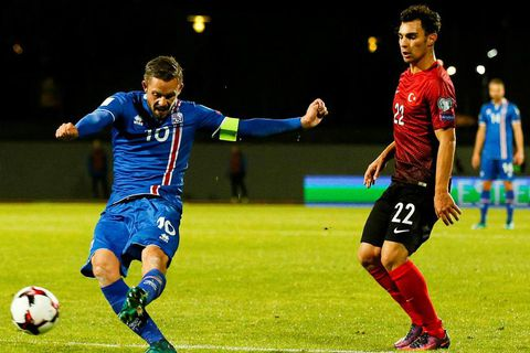 Gylfi Þór Sigurðsson playing for Iceland against Turkey on Sunday.