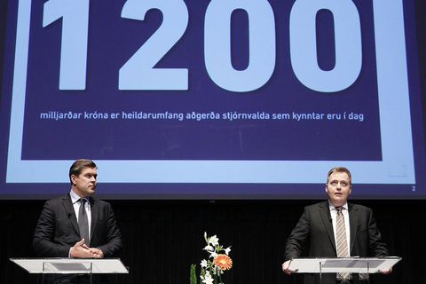 Icelandic PM and Finance Minister announcing plans to lift capital controls last month.