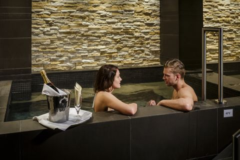 The spa offers two hot tubs, filled of course with Iceland's natural geothermal water.