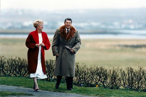 President Vigdís Finnbogadóttir and Ronald Reagan take a stroll at the presidential residence Bessastaðir in Iceland in 1986, prior to the Reykjavik Summit were Reagan met with Mikhail Gorbachev.