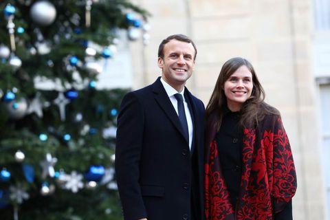 Emmanuel Macron, President of France, with Icelandic Prime Minister Katrín Jakobsdóttir in Paris yesterday.