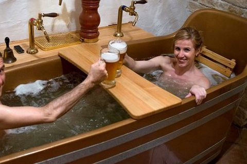 The new resort will feature beer-baths like this one.