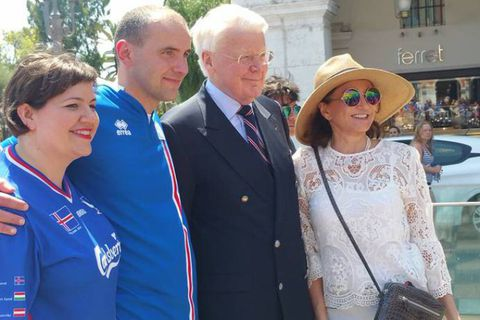 From left to right: Eliza Reid, Guðni Th. Jóhannesson, President Ólafur Ragnar Grímsson and First Lady Dorrit Moussaieff.