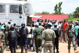 Mótmæli í Bangui.