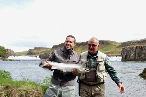 Gylfi Sigurðsson with his first salmon of the day.