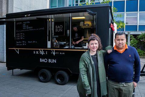 Hrefna Rósa and Guðlaugur Frímannsson, owners of the Bao Bun food truck.