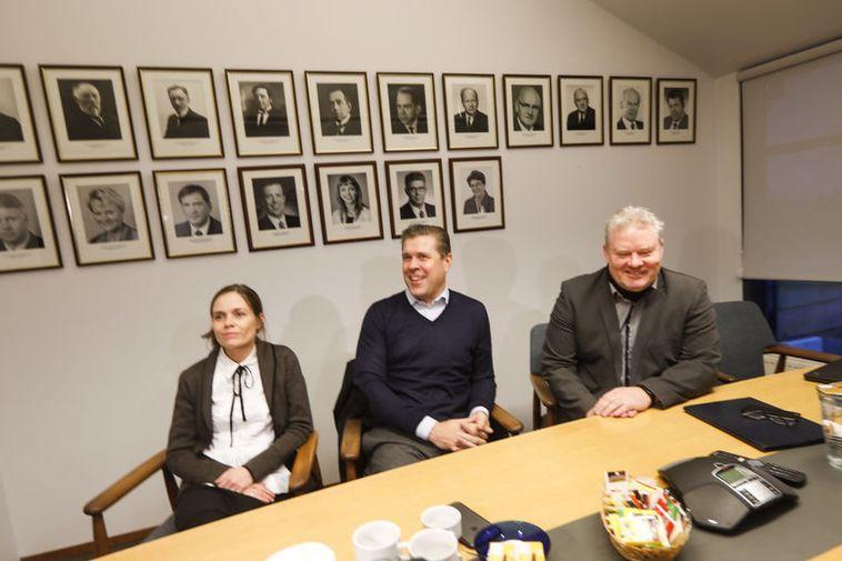 Katrín Jakobsdóttir, leader of the Left Green Movement, Bjarni Benediktsson, current Prime Minister and leader ...