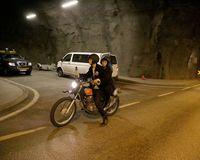 The motorbike in Hvalfjörður tunnel.