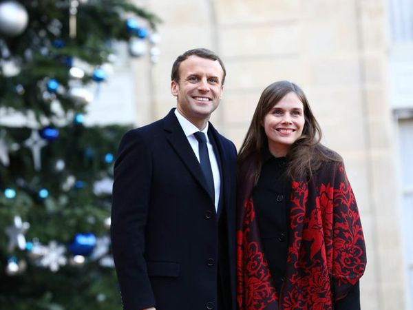 Emmanuel Macron, President of France, with Icelandic Prime Minister Katrín Jakobsdóttir in Paris yesterday.