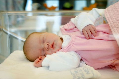 A baby girl at the maternity ward in Reykjavik.