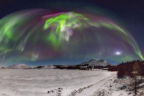 An aurora corona captured on film at Þingvellir national park on Saturday.