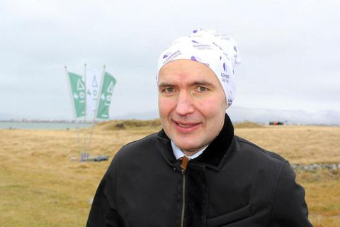 Guðni Th. Jóhannesson, President of Iceland wearing Buff headwear in the wind and rain yesterday.