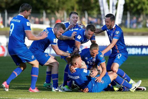 The team celebrating the winning goal