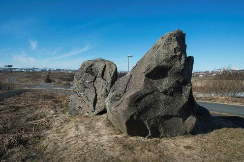 A photo taken on April 22nd this year shows a rock which is supposedly an elvin palace.
