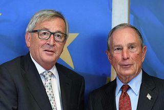 Michael Bloomberg og Jean-Claude Juncker, forseti framkvæmdastjórnar Evrópusambandsins.