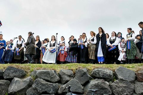 It's tradition that women that own the Icelandic national costume wear it on the 17th of June.