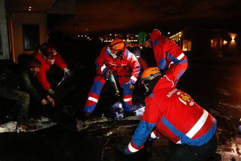 ICE-SAR members at the scene in Grafarholt, Reykjavik, this evening.