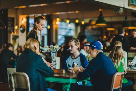 Kex Hostel's restaurant Sæmundur í Sparifötunum offers great food at all hours of the day, including a fantastic weekend brunch.