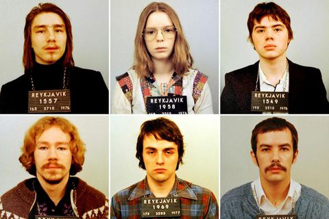 The six people convicted in the case: Sæv­ar Ciesi­elski, Erla Bolla­dótt­ir and Kristján Viðar Viðars­son. Lower row from left to right: Tryggvi Leifs­son, Al­bert Kla­hn Skafta­son and Guðjón Skarp­héðins­son.