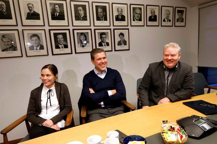 Katrín Jakobsdóttir, Bjarni Benediktsson and Sigurður Ingi Jóhannsson.
