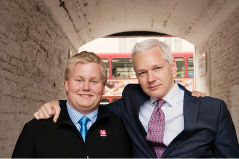 "Siggi ""The Hacker"" Þórðarson and Julian Assange in 2011. Þórðarson has received a two-year prison sentence for fraud."