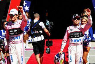Esteban Ocon (t.v.) og Sergio Perez í Austin síðastliðinn sunnudag.