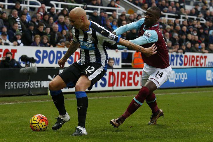 Jonjo Shelvey í sínum fyrsta leik með Newcastle í dag.