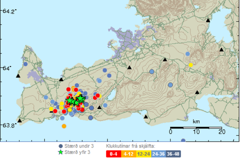 The green stars show the largest earthquakes that occurred in the swarm.