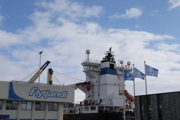 Brúarfoss lagðist að bryggju á Akureyri í dag í sinni fyrstu strandferð.