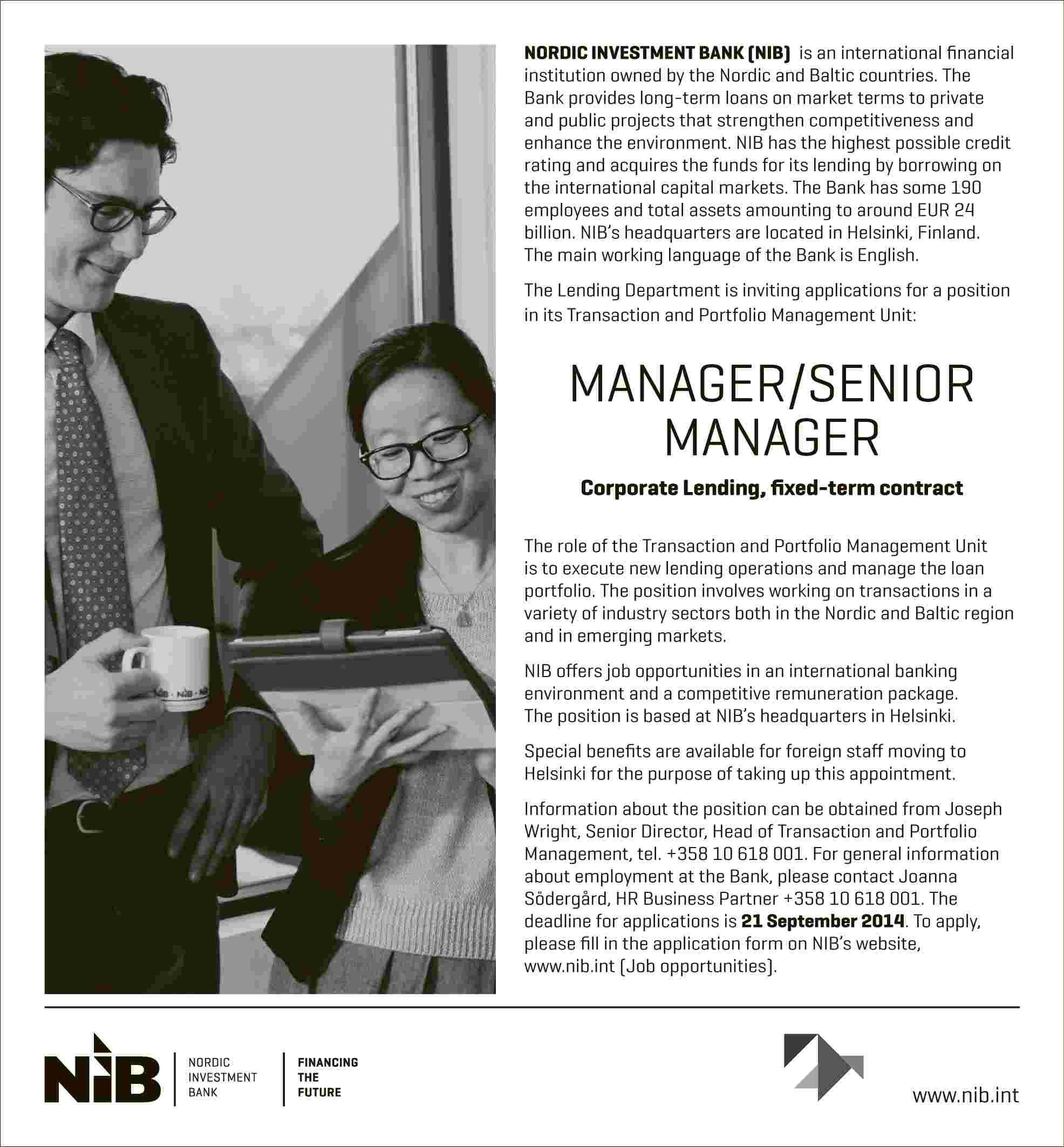 NIB: MANAGER / SENIOR MANAGER