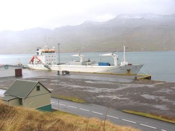 Alma við bryggju í Fáskrúðsfirði.