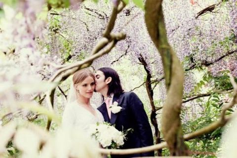 Sólveig Káradóttir and Dhani Harrison on their wedding day in 2012.