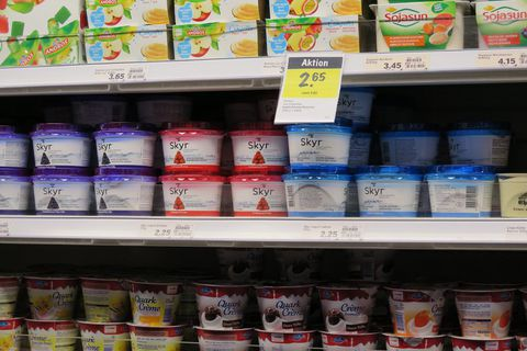 Skyr on a Swiss supermarket shelf.