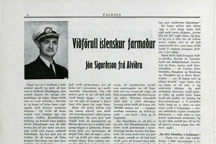 Viðtalið við Jón Sigurðsson frá Alviðru í Fálkanum 1950.