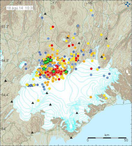 Seismic activity in and around Bárðarbunga.