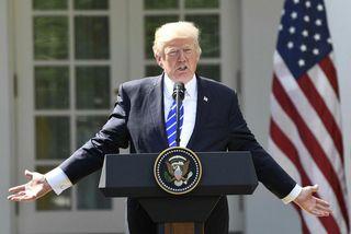 Donald Trump á blaðamannafundinum í dag.